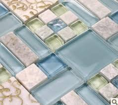 Glass And Stone Backsplash Tile by Blue Glass Mosaic Tile Backsplash Kitchen Wall Sticker Sgmt039