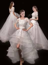 high low wedding dress with sleeves appliques high low wedding dresses with sleeves