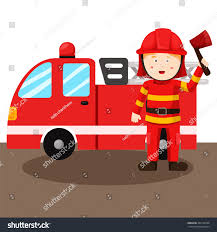 illustration fireman fire truck stock vector 424172569 shutterstock
