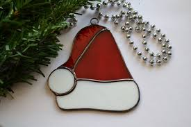 stained glass santa hat decoration ornament