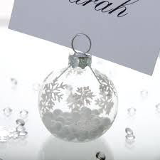 snowflake bauble place card holder wedding accessories
