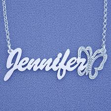 Personalized Pendant Name Necklace Silver Jennifer Personalized Pendant Butterfly