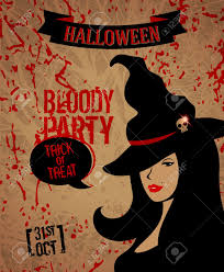 template for flyer design witch in hat happy halloween woman