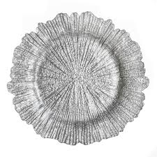 the companies 13 reef silver glass charger plate