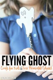 Free Printable Halloween Crafts For Kids Flying Ghosts Easy Halloween Craft For Kids