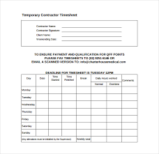 12 contractor timesheet templates u2013 free sample example format