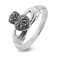 2 s ring claddagh ring s s2448 sterling silver with marcasite made