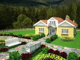 village house with landscape design 3d model in buildings 3dexport