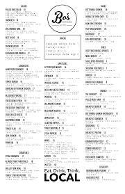 bo u0027s bar u0026 grill our menu