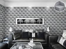 feature wallpaper 3d flower geometric funky modern grey teal olive