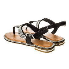 embellished toe post sandal with t bar u0026 flat block heel