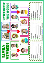 family members esl printable worksheets and exercises