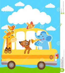 party bus clipart giraffe elephant dog animals on the yellow bus funny animals