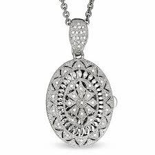 vintage diamond necklace pendants images Diamond accent oval vintage locket in sterling silver diamond jpg