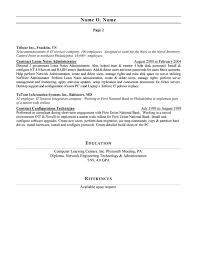 resume exles for 2 network administrator resume exle