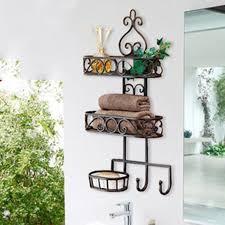 mounted bathroom storage racks wrought iron wall bathroom shelf