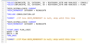 create conditional logic in sap bpc version for netweaver