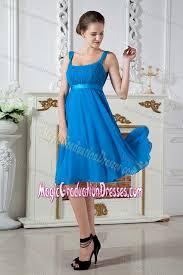 blue graduation dresses straps junior graduation dress knee length in azure blue