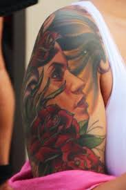amber rose flower portrait rose upper arm tattoo steal her style