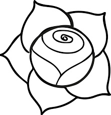a illustration of a pink rose with dark outline on a white