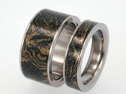 titanium wedding ring sets 14k gold and black titanium ring with mokume gane inset unique