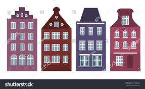 european style house set amsterdam style houses laser cut stock vector 651508822