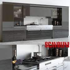 3d model scavolini baccarat kitchen black cgtrader
