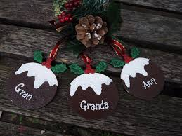 personalised christmas pudding bauble hand painted wooden xmas