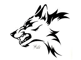 black tribal wolf tattoo design drawing chainimage