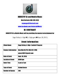 dj contract form templates fillable u0026 printable samples for pdf