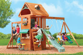 ridgeview deluxe climbing frame with slide swings and monkey bars