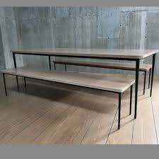 Beautiful Tables by Bleached White Oak Top Giacometti Style Dining Table And Bench Set