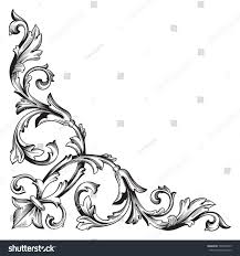 corner pattern png vintage baroque corner scroll ornament engraving stock vector