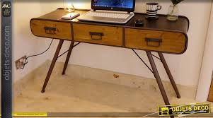 bureau retro bureau en métal et bois massif style rétro et atelier