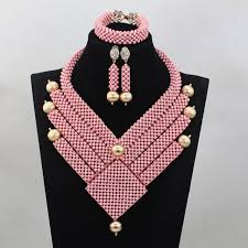 african jewelry necklace set images New wonderful beads pink african jewelry beads set unique design jpg