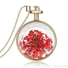 wholesale simple red flower charms necklace plant herbarium
