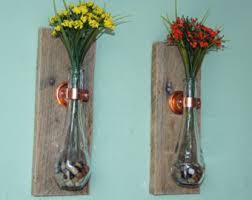 Wall Sconces For Flowers Wood Wall Vase Etsy