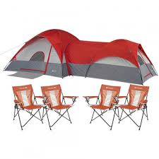 Dome Chairs Ozark Trail Connectent 8 Person 2 Dome Tent With Bonus Set Of 4