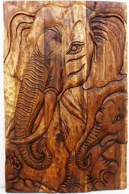 wood sculpture decor wall decor elephant and baby wooden panel carving thai