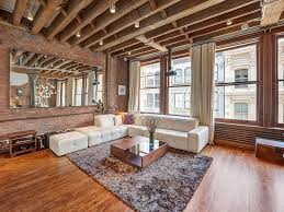 Lofted Luxury Design Ideas Interior Spacious Living Room Of The Loft In Wood And Brick