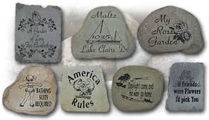 Engraved Garden Rocks Custom Engraved River Stones Garden Markers Unique Pond Stones
