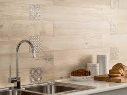 light wooden tiled kitchen splashback closeup interior