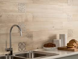 Kitchen Wall Design Ideas Light Wooden Tiled Kitchen Splashback Closeup Interior