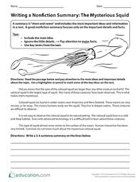 writing a nonfiction summary the mysterious squid worksheet