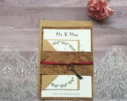wedding invitations cork cork invitations etsy