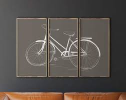 livingroom wall decor bicycle wall etsy