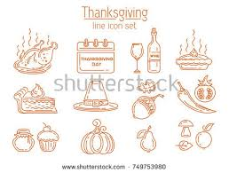 thanksgiving line icon set symbols collection stock vector 749753980