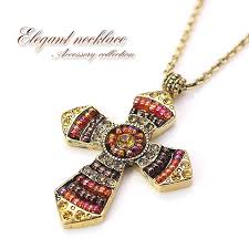 beaded cross necklace images Accessoryshopbarzaz glitter cross necklace ethnic gold beaded jpg