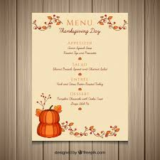 thanksgiving menu vector free
