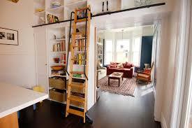 Sliding Bookshelf Ladder Inspired Ladder Bookshelfin Family Room Eclectic With Handsome